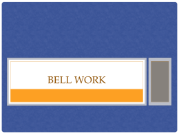 Bell Work - Denton ISD