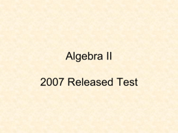 2007 Algebra II Released Test