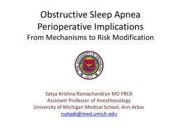 Obstructive Sleep Apnea - UM Anesthesiology