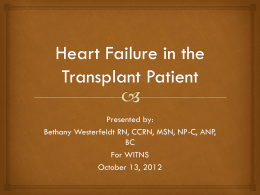 Heart Failure in the Transplant Patient