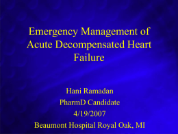 Emergency Management of Acute Decompensated Heart Failure