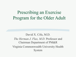 Prescribing an Exercise Program for the Older Adult