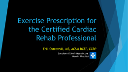 Exercise Prescription for the CCRP
