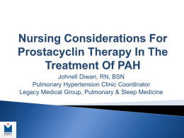 Nursing Considerations For Prostacyclin Therapy
