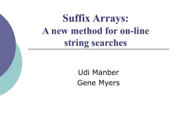 Suffix Arrays: A new method for on