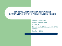 finding a minimum independent dominating set in a permutation graph