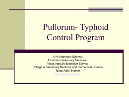 Pullorum- Typhoid Control Program