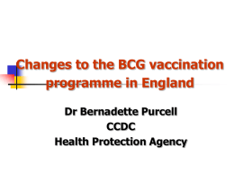 Changes to the BCG vaccination programme