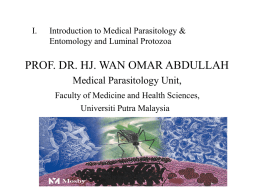 INTRODUCTION TO MEDICAL PARASITOLOGY AND ENTOMOLOGY …