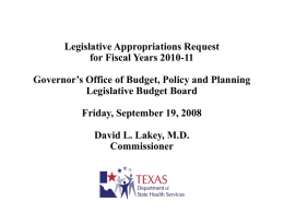 Legislative Appropriations Request for Fiscal Years 2010