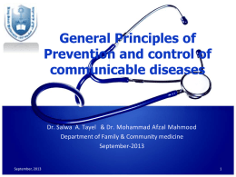 General Principals of prevention and control of disease