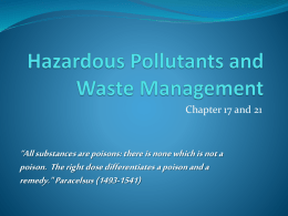 Hazardous Pollutants and Waste Management