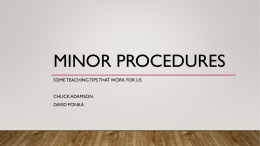 Presentation - Minor procedures