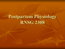 Postpartum Physiology RNSG 2308