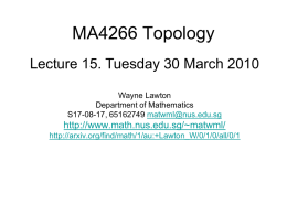 MA4266_Lect15 - Department of Mathematics