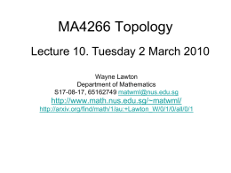 MA4266_Lect10 - Department of Mathematics