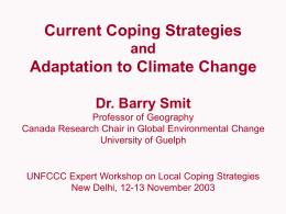 Current Coping Strategies and Adaptation to Climate