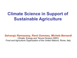 Talk 3 - Climate science in support of sustainable agriculture