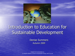 Introduction to Education for Sustainable Development