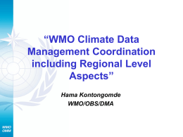 WMO Climate Data Management Coordination including