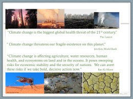 Climate Change and Health A Framework for Discussion