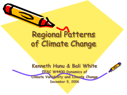 Regional Patterns of Climate Change