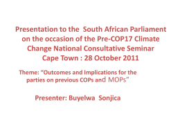 PRESENTATION TO THE CONS SEMINAR 28 OCT