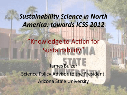 Sustainability Science in North America: towards ICSS 2012