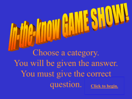 In-the-know Game Show - Windows to the Universe