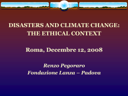 RENZO PEGORARO - Disasters and Climate Change