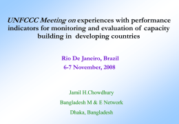 Performance indicators for M&E of capacity building