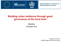 Building urban resilience through good governance at the