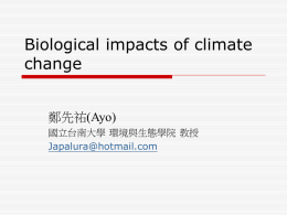 Chap.10 Biological impacts of climate change