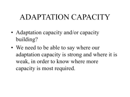 Adaptation capacity, an introduction