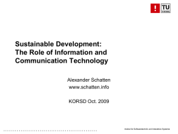 Information communication technologies for sustainable development