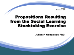 Propositions Resulting from the Social Learning Stocktaking Exercise