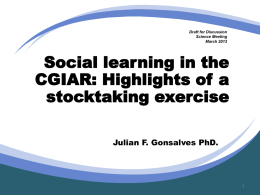 Social learning in the CGIAR: Highlights of a stocktaking exercise