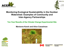 Monitoring Ecological Sustainability in the Humber Watershed