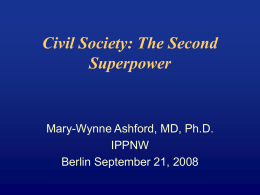 Civil Society: The Second Super Power