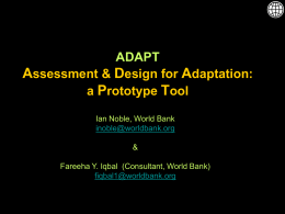 ADAPT, Assessment & design for adaptation: a - BASIC