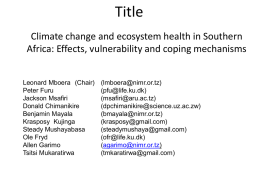 Climate change and ecosystem health in Southern Africa