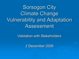 Sorsogon City Climate Change Vulnerability and Adaptation