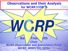 Observations and their analysis in WCRP/COPES