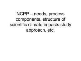 NCPP – needs, process components, structure of scientific climate