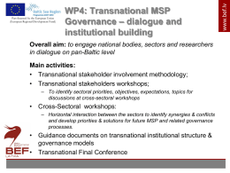 WP4: Transnational MSP Governance, dialogue and