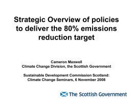 Strategic Overview of policies to deliver the 80% emissions