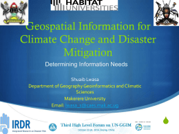 Geospatial Information for Climate Change and Disaster
