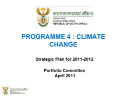 PROGRAMME 4 : CLIMATE CHANGE Strategic Plan for 2011
