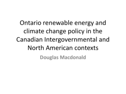 Ontario renewable energy and climate change policy in the Canadian Intergovernmental and