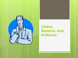 Claims, Reasons, and Evidence